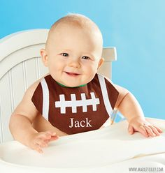 Monogrammmed Baby Bib - Football                                                                                                                                                      More                                                                                                                                                                                 More