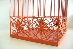 Orange Decorative BirdCage With Stand Shabby Chic