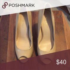 Nine West patent beige peep toe pumps. Never used, with original box. Nine West Shoes Heels