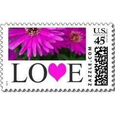 Love Stamps Fuschia Wedding Invitation Postage