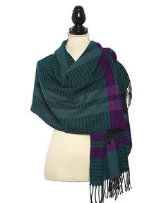 Green and Multi Jacquard Woven Chevron Plaid Scarf with Fringes