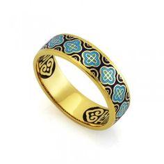 Православное кольцо с эмалью КПЭ001-1 ручной работы выполненное из серебра с позолотой