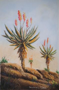 Free Pastel Tutorial - How to Draw Aloes in Pastel — Online Art Lessons Landscape Art Lessons, Landscape Paintings, Watercolor Paintings, Flower Paintings, Watercolor Rose, Art Paintings, Southwest Art, African Art, Pastel
