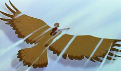 Cody riding the golden eagle in Rescuers Down Under