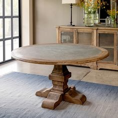 Zinc Top Round Farmhouse Dining Table