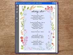 A printable seating list featuring a wreath of hand painted flowers. Just enter guests names and table numbers into the editable PDF and print!