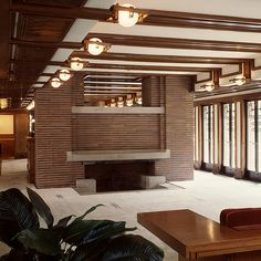 Frank Lloyd Wright's Robie House living room fireplace