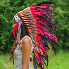 Turn heads whenever you´re wearing this gorgeous Red Indian Headdress - 95cm – Indian Headdress - 89.00 US$ from Novum Crafts