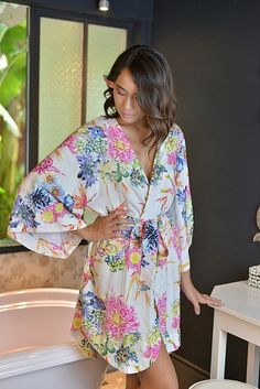 Kimono Wedding Robe - Birds of Paradise Pink - Bridal Robe  @piyamasleepwear