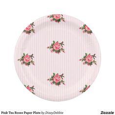 Pink Tea Roses Paper Plate 7 Inch Paper Plate  sc 1 st  Pinterest & Elegant black white stripes polka dots pink roses paper plate ...