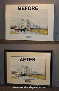 Before & After Custom Framing from Woodlands Gallery. Painting by Armand Paquette. Limited Edition Prints, Custom Framing, Painting & Drawing, Original Paintings, Baseball Cards, Gallery, Drawings, Frame, Interior