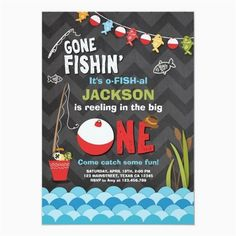 Shop Fishing Birthday Invitation Reeling The big one created by Anietillustration. Personalize it with photos & text or purchase as is! 1st Birthday Boy Themes, Birthday Bbq, Baby Boy First Birthday, Birthday Gifts For Boys, First Birthday Invitations, Boy Birthday Parties, Birthday Ideas, Birthday Star, Birthday Celebration