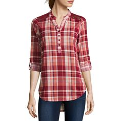 Almost Famous Long-Sleeve Roll-Tab Lace-Detail Plaid Shirt  - Juniors ($15) ❤ liked on Polyvore featuring tops, long sleeve plaid shirt, long sleeve shirts, long sleeve lace top, lace shirt and red lace top