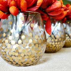 Make these simple but chic gold dot vases. They look great with fall flowers and are versatile enough for any time of year.