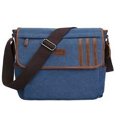 e46560e4fe S-ZONE Lightweight Canvas Messenger Bag Travel Shoulder Bag  14.1
