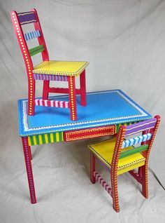 Child's Table and Two Chairs Set- Custom Hand Painted Furniture Made to order by LisaFrick on Etsy https://www.etsy.com/listing/204095049/childs-table-and-two-chairs-set-custom