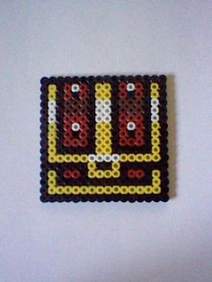 The Legend of Zelda Treasure Chest  perler bead creation....melted beads with magnet on back. $4.00, via Etsy.