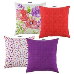 Double Sided Decorative Toss Pillows (2 Piece) Red/Floral and Purple/Polka Dot - A Bit Unique Boutique