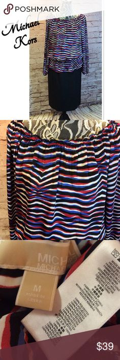 MICHAEL KORS DRESSY BLOUSE Pretty blouse with tons of pizazz. Vibrant colors  of red, blues white and black. Elastic band at the waist, sleeves and neck. MICHAEL Michael Kors Tops Blouses