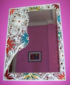 Diseño con flores realizado con venecitas y vidrio.  65 x 88