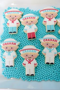 nautical party, sailor boy decorated sugar cookies, by Bee's Knees Creative