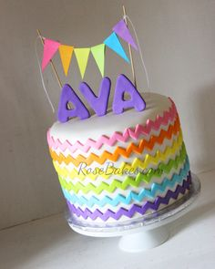 Rainbow Chevron Birthday Cake Smash Cake Rainbow birthday Smash