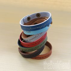 """Your favorite quote --- custom engraved 1/2"""" leather bracelet. not all those who wander are lost - jrr tolkien"""