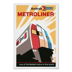 "Amtrak Railroad Metroliner Poster Print $14.75*  8""X12"" #stanrail -    Zazzle's gloss canvas is made from an additive-free cotton-poly blend and features a special ink-receptive coating that protects the printed surface from cracking when stretched. Made with a tight weave ideal for any photography or fine art, our instant-dry gloss canvas produces prints that are fade-resistant for 75 years or more. #stanrails_store"