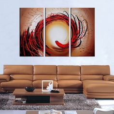 Hand Painted 'Abstract-349' Oil Paint 3-piece Canvas Art Set - Overstock™ Shopping - Top Rated Otis Designs Canvas