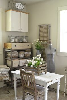 love the idea of a small drss form in the corner of the folding table. for decor Faded Charm: ~Laundry Room Reveal~ Shabby CHic Vintage Laundry, Vintage Storage, Vintage Home Decor, Unique Vintage, Country Decor, Country Living, Room Inspiration, Sweet Home, Room Decor