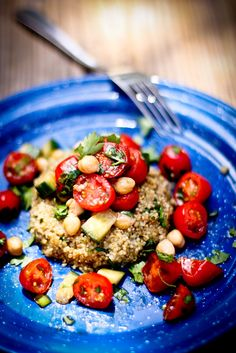 Quinoa Cakes with Cherry Tomato, Mint and Chick Pea Relish