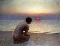 Nude, mulher na praia, por do sol,