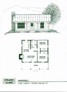Like this floor plan! Log Home Floor Plans - Log Cabin Kits - Appalachian Log Homes Small Cabin Plans, Log Cabin Floor Plans, Small Log Cabin, Log Home Plans, Cabin House Plans, House Plans One Story, Tiny House Cabin, Bedroom House Plans, Tiny House Plans