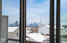 Chelsea Lofts-1375 Dupont St #403 | Fab 1 bedroom + den with bright South city skyline views, floor to ceiling windows & full width balcony! | More info here: torontolofts.ca/chelsea-lofts-lofts-for-sale/1375-dupont-st-403-1 Concrete Column, Concrete Ceiling, Exposed Concrete, Soaker Tub, Floor To Ceiling Windows, West Village, Lofts, Balcony, Den