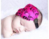 www.littlebitschic.etsy.com  baby girls headbands..feather headbands..hot pink headbands..flapper headbands..photography props