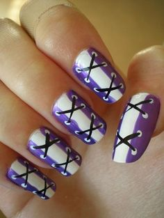 Purple Lace up nails