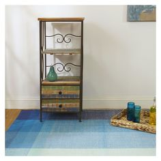 Bliss - Blue Recycled Cotton Rug from Fab Habitat's Zen Collection