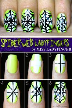 Spiderweb Ladyfingers, Halloween Nail Art