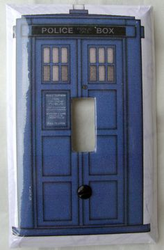 Clear resin coated light switch cover. Doctor by Switchplatecity