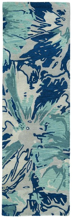 Kaleen Brushstrokes Blue x Runner Rug Tips And Tricks, Hallway Carpet Runners, Cheap Carpet Runners, Apartment Therapy, Turquoise Kitchen Decor, Kaleen Rugs, Curtain Patterns, Layout, Construction