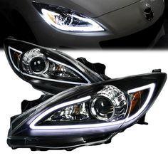 2010-2013 Mazda 3 LED DRL Strip Projector Headlights - Black