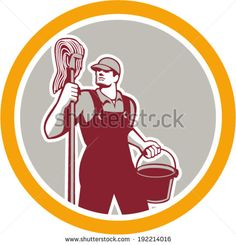 Illustration of a janitor cleaner worker holding mop and water bucket pail viewed from front set inside circle on isolated background done in retro style. - stock vector #janitor #retro #illustration