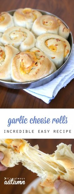 Lower Excess Fat Rooster Recipes That Basically Prime Amazing Cheesy Garlic Rolls. This Recipe Is Incredible It's Super Fast And Easy Because It's Starts With Frozen Bread Dough. Instructions to Make Cheese Bread. Garlic Rolls, Frozen Bread Dough, Silvester Party, Yummy Food, Tasty, Incredible Recipes, Cheese Bread, Garlic Cheese, Garlic Bread