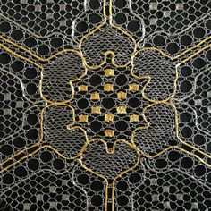 Wall Art – Triptych Material: stainless steel, gold-plated copper Technique: point ground lace Size: 36 x 108 cm x 42 inch) total or 36 x 36 x 14 inch) each panel Artist's Stat… Bobbin Lacemaking, Lace Art, Lace Jewelry, Lace Making, Triptych, Lace Detail, Animal Print Rug, Vintage Antiques, Contemporary