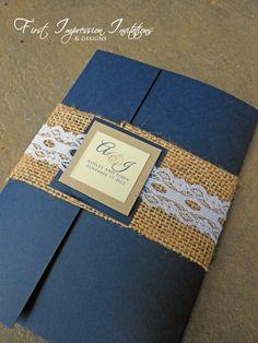 Burlap & Lace Pocketold Wedding Invitation - Navy Blue / Brown Kraft Paper on Etsy, $6.75