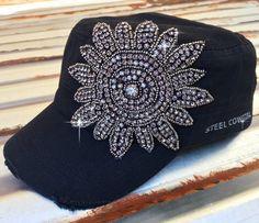 Distressed Black w/ Gunmetal Crystal Flower Cadet Hat by Steel Cowgirl