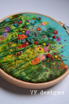 "Colourful handmade original wet felt & embroidery vibrant flower picture 4"" wooden hoop."