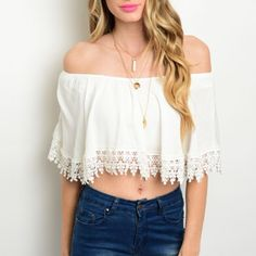 SALE • White off Shoulder white top Brand new with tags! Available in multiple sizes. bohemian trend setter. . A must have for the summer. Check out our reviews ⭐️⭐️⭐️⭐️⭐️ Tops Blouses