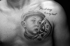 Child portrait and clock tattoo by Stefan at Holy Grail