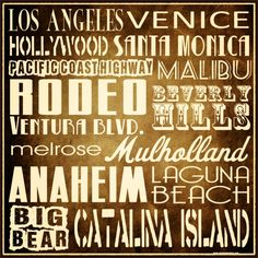 "Southern California 16"" Square Vintage Typography Wall Art  Retro Tin Sign. $89.00, via Etsy. Vintage Typography, California Dreamin', Tin Signs, Vintage Metal, Venice, Wall Art, Retro, Beach, Subway Signs"